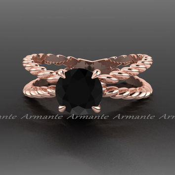 14K Rose Gold Promise Ring, Black Diamond Engagement Ring