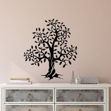 Vinyl Wall Decal Oak Forest Tree Leaves Nature Stickers (2321ig)