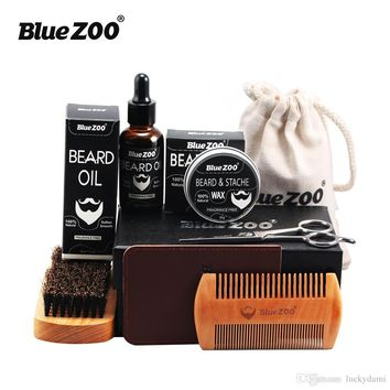 7pcs Set Beard Care Gift Kit Beard Oil and Wax Wood Comb Brush Stainless Barber Sissors PU wallet Mustache Grooming Trimming Set for Men