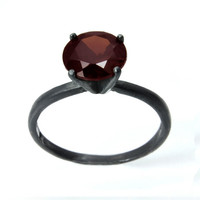 Garnet Ring, Almandine Garnet Tiffany Set Solid Silver Ring with Unique Black Patina
