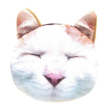 Sleepy Kitty Cat Tabby Face Shaped Soft Fabric Zipper Coin Purse Make Up Bag