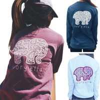 MYNELO 3 Colors New 2016 Summer Ivory Ella T-shirt Women Tops Tee Print Animal Elephant T Shirt Loose Full Long Sleeve Blusas Tops