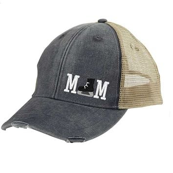 Hockey Mom Distressed Snapback Trucker Hat - off-center hockey skate