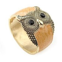 Owl Light Brown Crystal Vintage Bangle - Sheinside.com