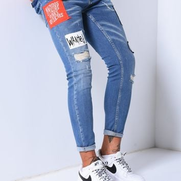 Mens Street Style Ripped Jeans Patched Detail 4524
