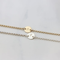 Personalized Delicate Coin Bracelet / Initial Bracelet / Personalized Gift for Her