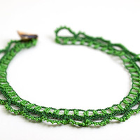 Green Crochet Lace Statement Necklace Choker Beaded Doily Boho Chic Victorian