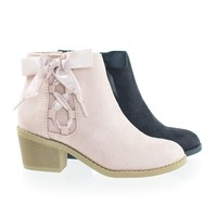 Coco2 by Soda, Children Girl's Block Heel Ankle Bootie w Corset Lace Bow