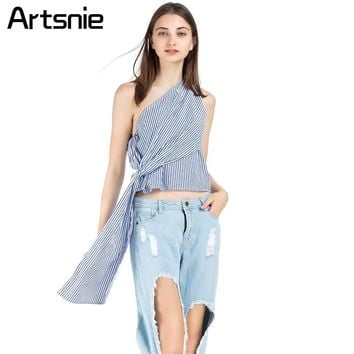 Artsnie Blue Striped Bow Short Tops Women One Shoulder High Street Tank Tops Sashes Sexy Party Backless Shirts Cropped Tops