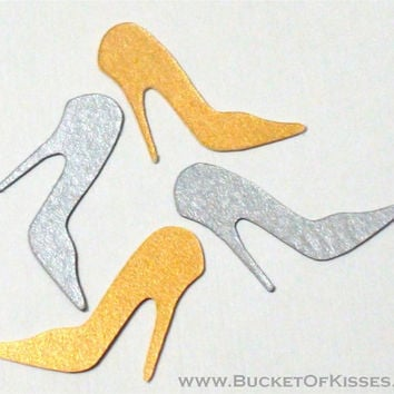 Shimmery Gold or Silver Stiletto High Heel Confetti, fun for fashionista, bachelorette, girly showers, and birthday parties