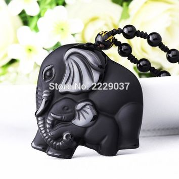 Chinese Handwork Natural Black Obsidian Carved Pendant Necklace