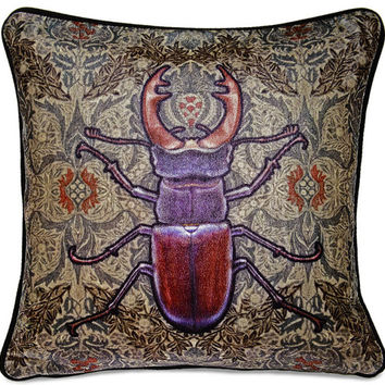 Stag Beetle Cushion/pillow printed on silk velvet. Unique to Baba Studio.