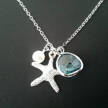 INDEPENDENCE SALE - Hot Summer Starfish Necklace - Everyday Jewelry, Beach Wedding, Bridal, Tropical, Hawaiian, Beach Jewelry
