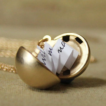 Secret Message Locket - Matte Gold Ball Locket Necklace
