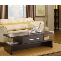 Modern Coffee Table in Coffee Bean Finish with Center Drawer