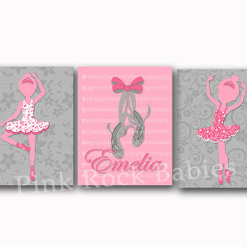 Pink grey ballerina decor music nursery wall art baby girl name poster kids room artwork bedroom decoration toddler print shower gift