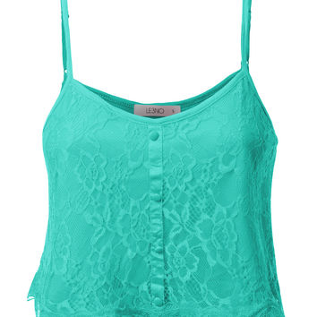 LE3NO Womens Lightweight Loose Floral Lace Crop Top Cami (CLEARANCE)