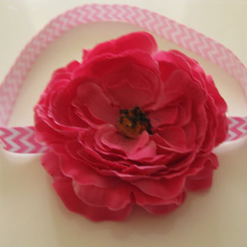 Baby headband pink flower headband - pink chevron headband, toddler headband,girls headband, newborn photo prop, baby headband, UK seller