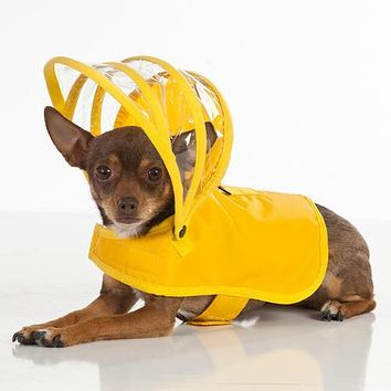 Push Pushi Rainbow Line Dog Raincoat - Yellow