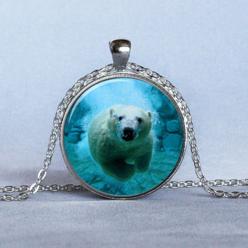 POLAR BEAR PENDANT Blue White Nature Lover Gift Wildlife Jewelry Polar Bear Necklace Jewelry with Bears Bear Jewelry Polar Bear Jewelry