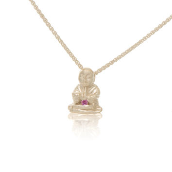 Sterling Silver Pink Diamond Peaceful Buddha Charm Necklace Love Light Compassion Foundation Buddha Buddies