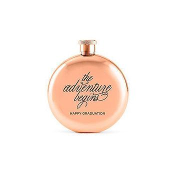 The Adventure Begins Round Rose Gold 3oz Hip Flask (Pack of 1)