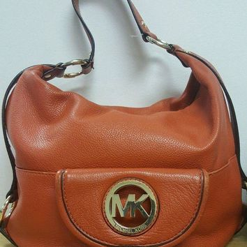 ONETOW Michael Kors Fulton Leather Hobo Shoulder Bag Orange