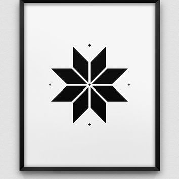 nordic style print // star design print // black and white home decor // scandinavian design print // modern print // christmas star print