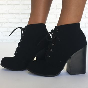 Weekend Warrior Suede Booties in Black