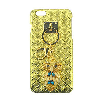 "S&C Luxury 3D Bling Rhinestone Beautiful Owl Pendant with DIY Handmade Metal Buckle Pendant Elegant Tartan Plaid Weave Leather Hard Back Case Cover Phone Case for iPhone 6Plus 6S Plus (5.5"")"