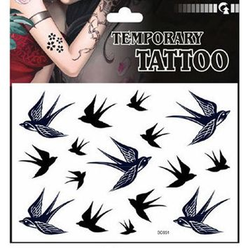 New Arrival Swallow Bird Temporary Tattoo Waterproof Tattoo Stickers On The Body Art Transferable Tattoos Tatuajes