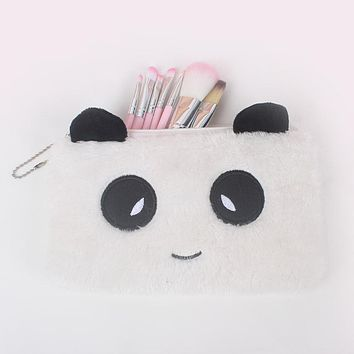 YIYOHI New Portable Canvas Panda Cosmetic Bag Travel Toiletry Wash Makeup Storage Bags Organizer Make Up Case For Women