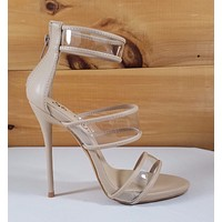 "So Me Gab 3 Illusion Strap 5"" High Heels Single Sole Shoe Nude"