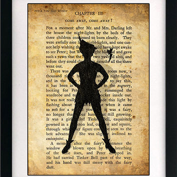 Peter Pan & Wendy Childrens Art Book Print - A4 or A3 Large Vintage Page Effect Wall Quote.