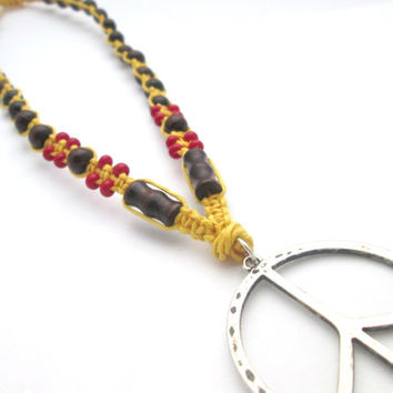 Yellow Hemp Necklace Peace Hemp Jewelry Peace Sign Beaded Hemp Necklace Wood