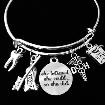 She Believed She Could SO She Did Dental Hygienist  Expandable Charm Bracelet DH Jewelry Silver Tooth Floss Toothpaste Toothbrush Adjustable Wire Bangle One Size Fits All Gift Dental School Graduation Present