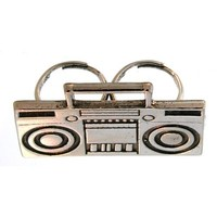 Boombox 2 Finger Ring, Adjustable, 100% Made in USA!, in Silver Tone