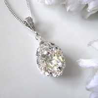 Swarovski Crystal Drop Bridal Necklace, Bridal Jewelry, Bridemaids Jewelry | Luulla