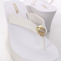 White Faux Leather V Strap Thong Post Skull Charm Sandals