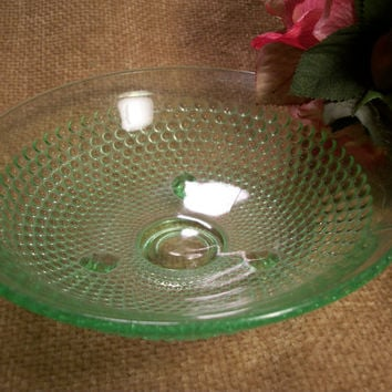 Vintage Green Depression Glass Footed Hob Nail Serving Bowl Candy Dish Collectible Home Decor