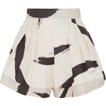 Zimmermann - Pleated printed silk-voile shorts