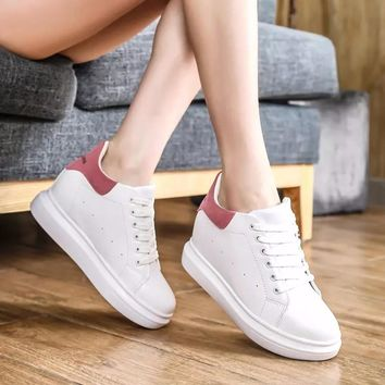 White shoes with breathable strap increased thick flat all-matchstudents
