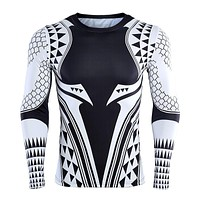 Aquaman 3D Printed T shirts Men Compression Shirt 2018 Newest Character Cosplay Costume Long Sleeve Tops For Male Fitness Cloth