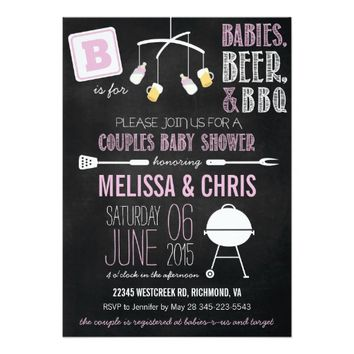 Pink Couples Baby Shower BBQ Invitation