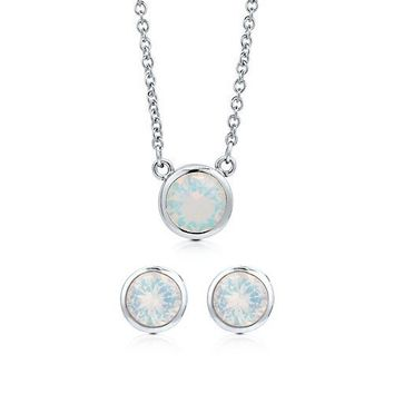 Bezel Set Round Cut Opal Cubic Zirconia CZ 925 Sterling Silver Solitaire Pendant Necklace And Stud Earrings Matching 2 Pc Set #vs106