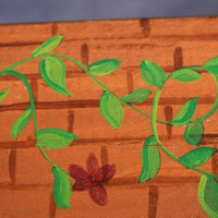 Indoor Window Box with Handpainted Green Vines and Red Flowers on a Brick Pattern