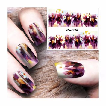 LCJ Water Decal Nail Water Transfer Gothic Blooming Flower Nail Sticker Stamping For Nail Art Stamp 8057
