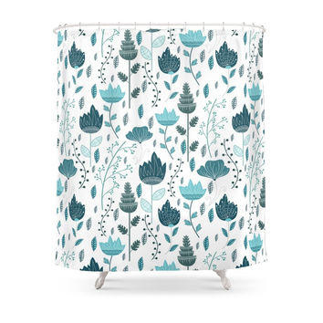 Society6 Frozen Flowers Pattern Shower Curtains