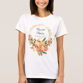 Orange and Pink Watercolor Floral Wedding T-Shirt