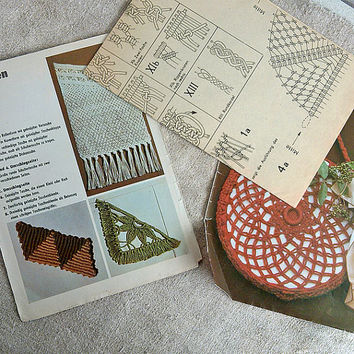 Vintage macrame pattern, makramee taschen, macrame bags, tutorial, DDR Leipzig, Vintage, Home & Living, Fiber Arts, German, found object art